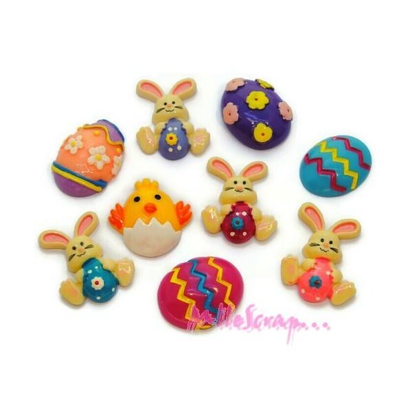 Cabochons pâques résine multicolore - 9 pièces - Photo n°1