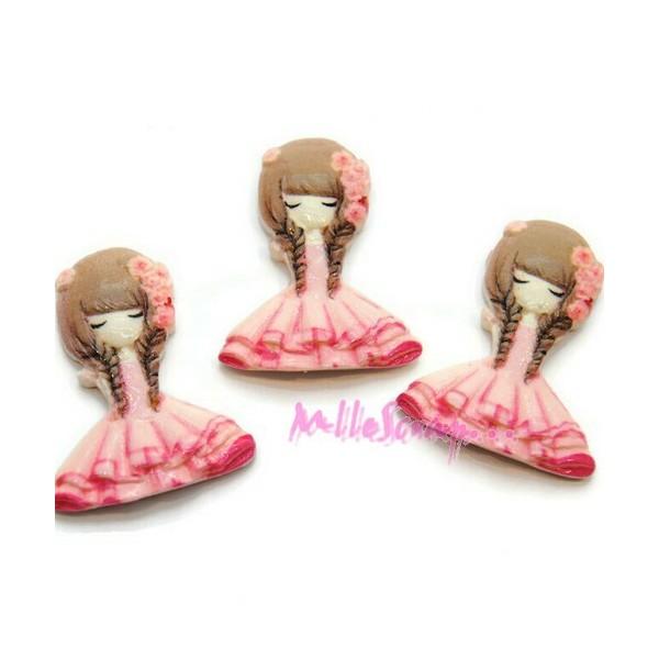 Cabochons petites filles résine rose - 3 pièces - Photo n°1