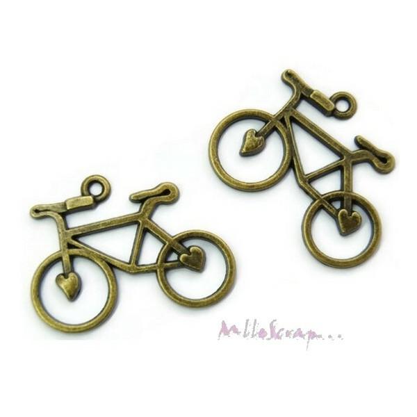 Breloques vélos métal bronze - 2 pièces - Photo n°1