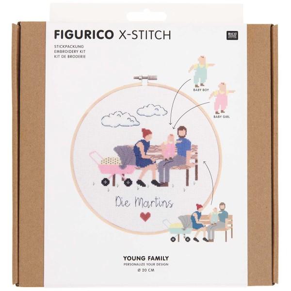 Kit Broderie FiguRico - Jeune Famille - Ø 20 cm - Photo n°1