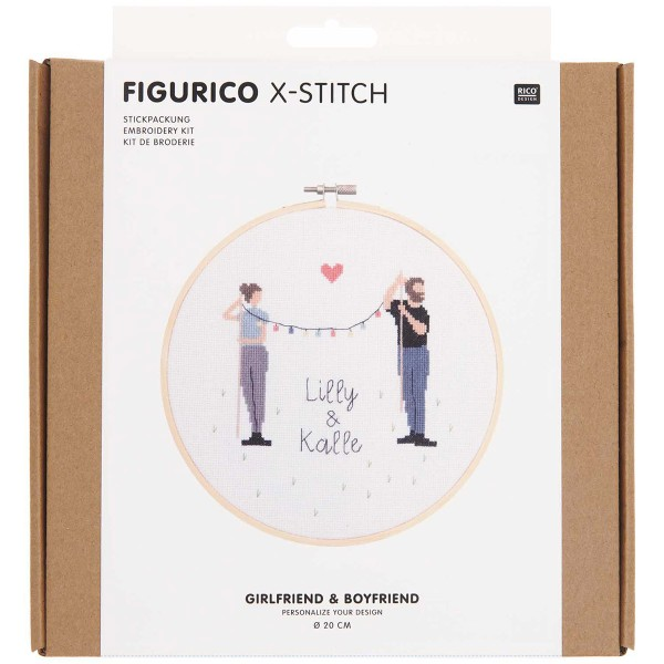 Kit Broderie FiguRico - Jeunes Amoureux - Ø 20 cm - Photo n°1