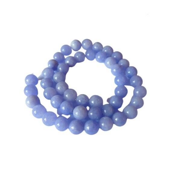 Fil de 45 perles teintées ronde naturelle en jade 8 mm MAUVE - Photo n°1