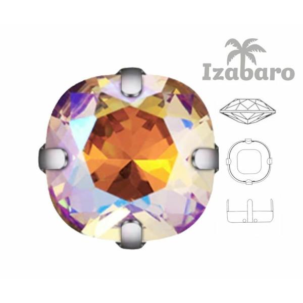 6 pièces Izabaro Cristal Soleil 001sun Coussin Carré Fantaisie Pierre Verre Cristal Argent Couleur C - Photo n°2