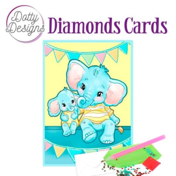 Dotty design Carte Broderie Diamant - Elephants - Photo n°1
