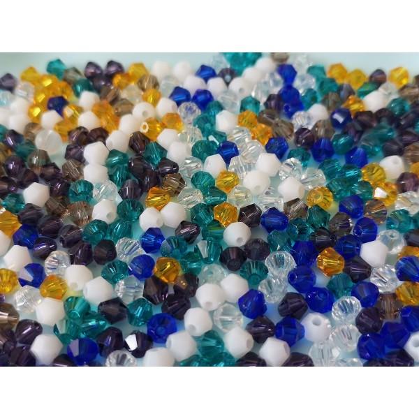 Perles en verre toupie 4 mm multicolore x 50 - Photo n°1