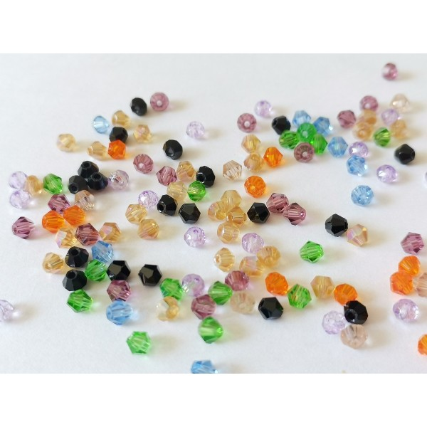 Perles en verre toupie 4 mm multicolore x 50 - Photo n°2