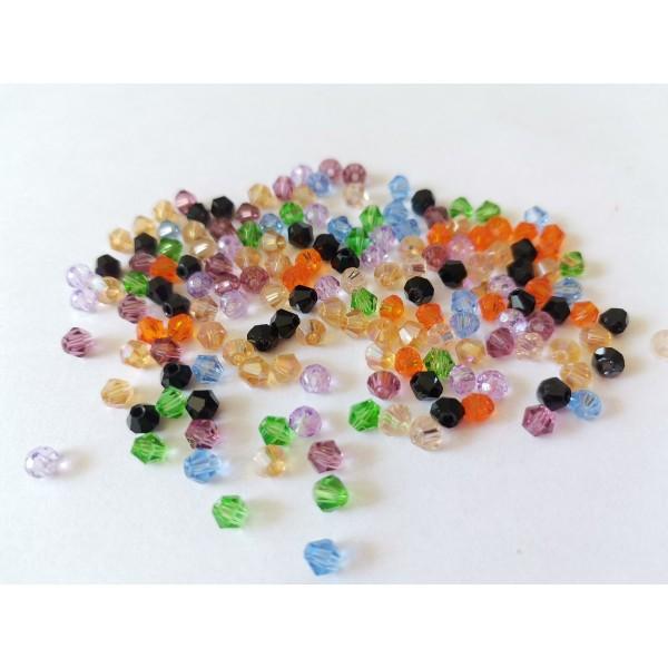 Perles en verre toupie 4 mm multicolore x 50 - Photo n°3