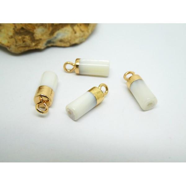 4 Petites breloques colonne en nacre 14*5mm, laiton plaqué or - Photo n°1