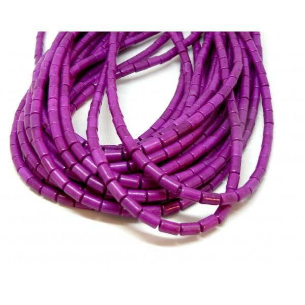 HG12046 Lot 1 fil d'environ 64 tubes turquoise reconstituées 4 par 6mm Violet Orchidée Coloris 02 - Photo n°1
