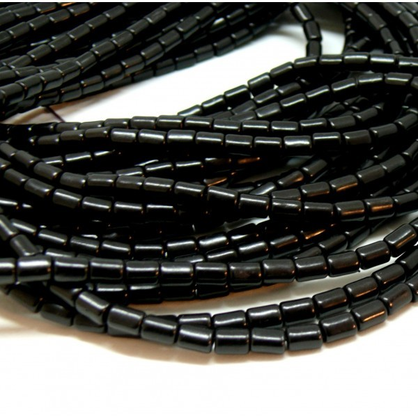 HG12046 Lot 1 fil d'environ 64 tubes turquoise reconstituées 4 par 6mm Noir Coloris 04 - Photo n°1