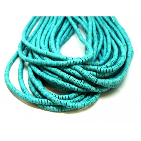 HG11042 Lot 1 fil d'environ 170 Perles intercalaires rondelles turquoise reconstituées 4 par 2mm Tu - Photo n°1