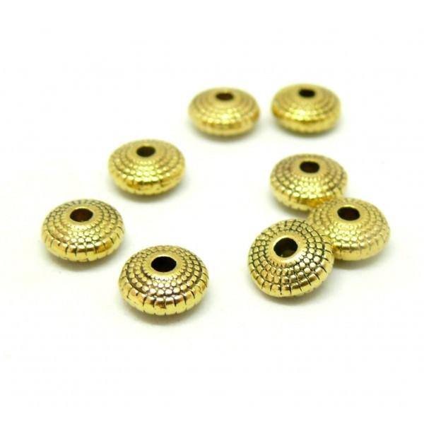 H391Y PAX de 25 perles intercalaires stries 8mm métal couleur Or Antique - Photo n°1