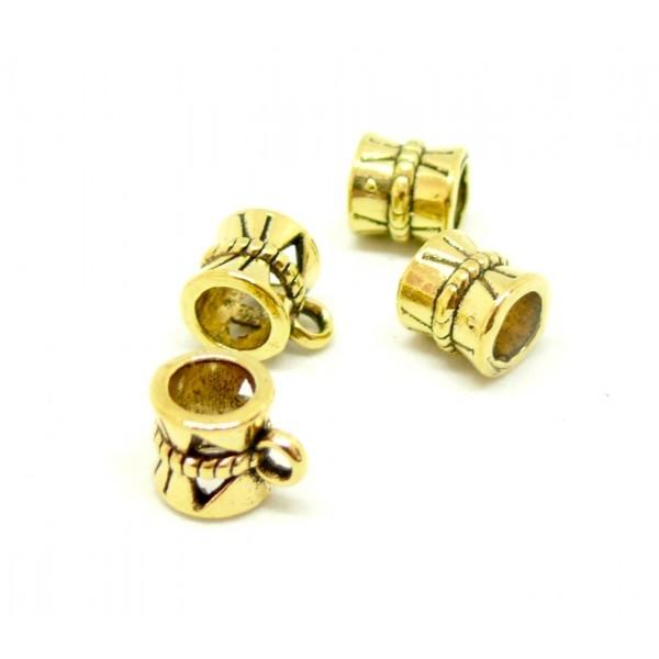 P30047 PAX 25 pendentifs magnifiques bélières tambour metal couleur Or Antique - Photo n°1