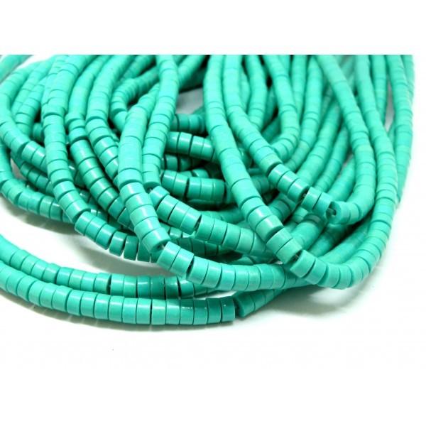 HG11063 Lot 1 fil d'environ 135 Perles intercalaires rondelles turquoise reconstituées 6 par 3mm Bl - Photo n°1