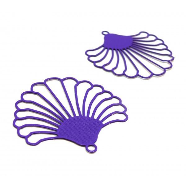 AE115017 Lot de 2 Estampes pendentif filigrane style Eventail 38 mm Coloris Violet Foncé - Photo n°1