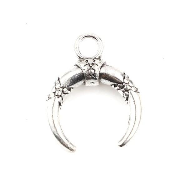 S11706761 PAX 10 pendentifs Corne de Buffle, Galaxy, Croissant 19mm métal couleur Argent Antique - Photo n°1