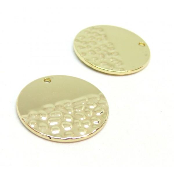 PS110211580 PAX 4 pendentifs breloque cercle martelé 24 mm métal coloris Doré - Photo n°1