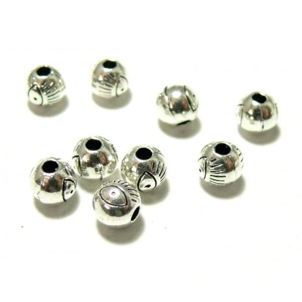 PS110117685 PAX 25 perles intercalaires Ronde Oeil metal couleur Argent Platine - Photo n°1