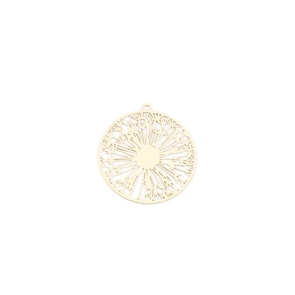 PS110200117 PAX 5 Estampes pendentif Pissenlit dans Cercle 32mm métal couleur Doré - Photo n°1