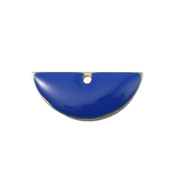 PS110140797 PAX 5 sequins médaillons résine style émaillés Biface Demi Cercle Bleu Roi 18 par 8mm - Photo n°1