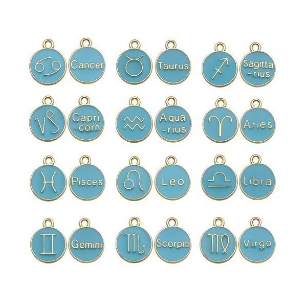 S11702277 PAX 12 pendentifs médaillon Signe du Zodiaque, Horoscope 12mm Biface Emaille Bleu métal c - Photo n°1
