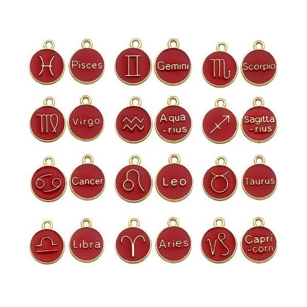 S11702274 PAX 12 pendentifs médaillon Signe du Zodiaque, Horoscope 12mm Biface Emaille Rouge métal - Photo n°1