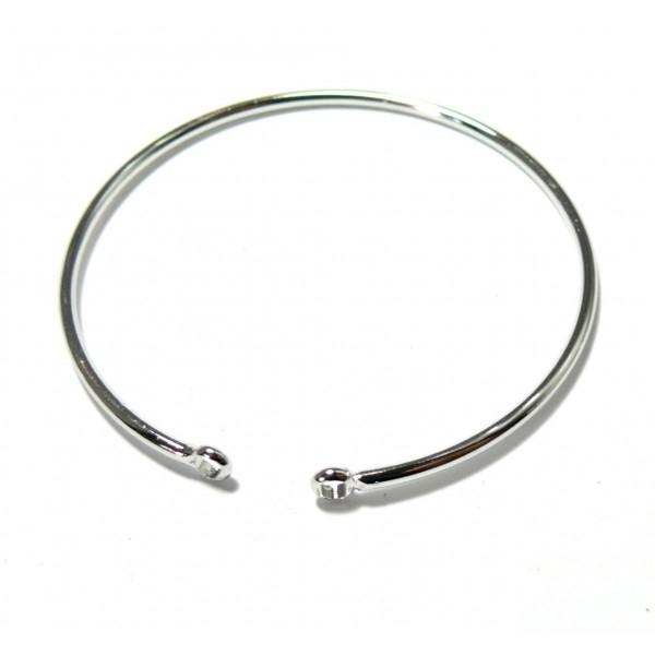 BN1129449BIS PAX 1 Support bracelet Jonc avec anneau 65mm Laiton couleur Argent Platine - Photo n°1
