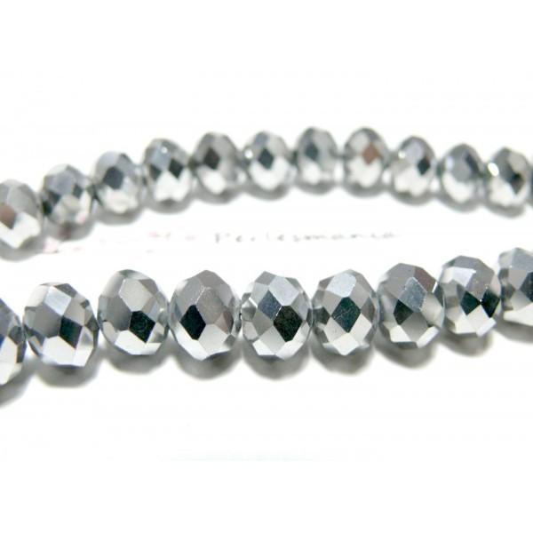 Ref 2J19171 Lot 1 fil d'environ 72 perles facettées rondelles argenté 8 par 10mm - Photo n°1