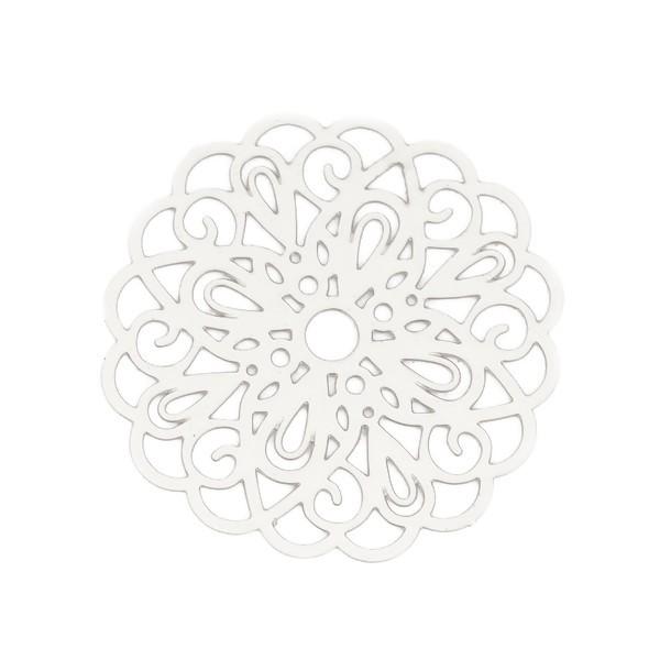 PS110131917 PAX de 5 Estampes pendentif filigrane Mandala 26mm cuivre couleur Argent Platine - Photo n°1