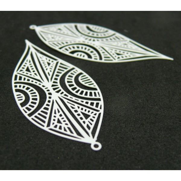 AE115394 PAX de 2 Estampes pendentif filigrane Marquise Art premier 58mm cuivre couleur Blanc - Photo n°1