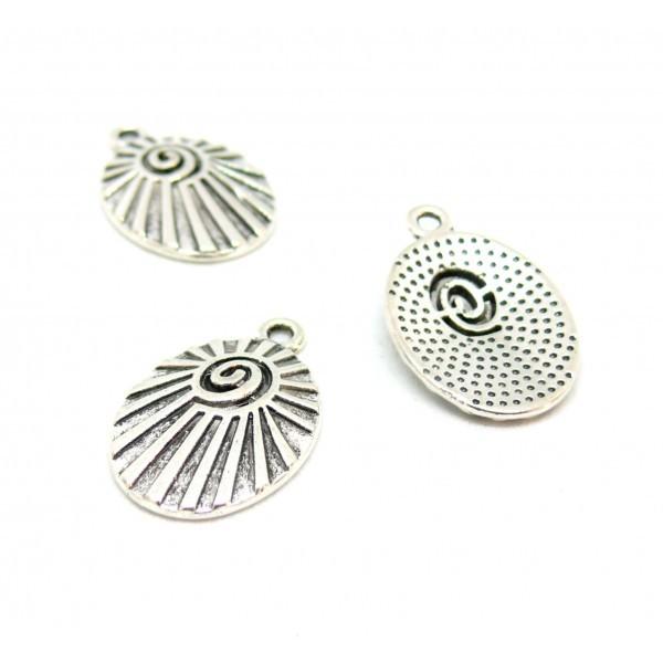 PS11706768 PAX 10 pendentifs, breloques médaillon Ovale Géométrique Escargot métal coloris Argent A - Photo n°1