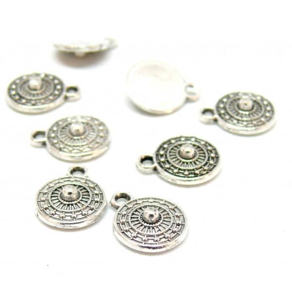 PS110117024 PAX 25 pendentifs, breloques petit médaillon Rond Géométrique Ethnique métal coloris Ar - Photo n°1