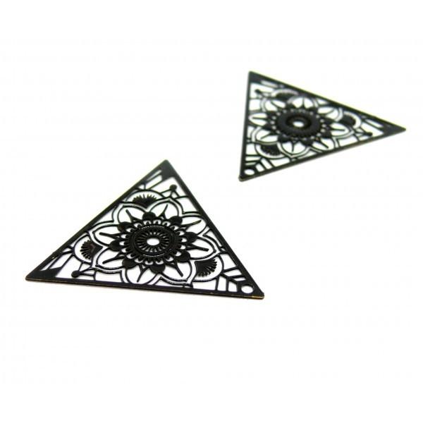 AE1111967 Lot de 4 Estampes pendentif connecteur filigrane Triangle 28mm coloris Noir - Photo n°1