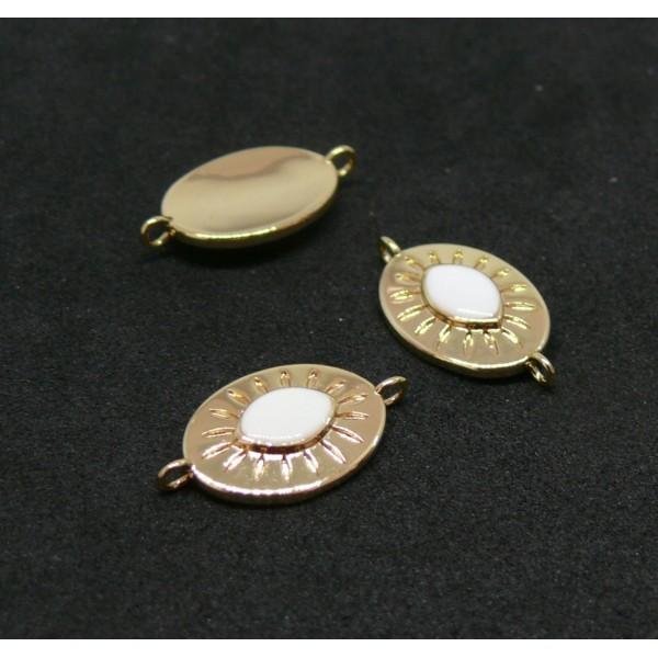 AE005 PAX 1 connecteur émaillé Ovale 9 par 17mm cuivre doré emaillé Blanc - Photo n°1