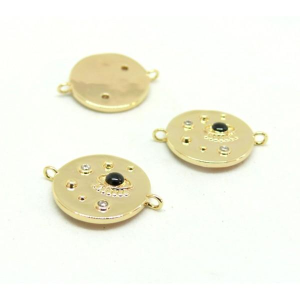 AE007 PAX 1 connecteur émaillé Oeil de la protection 14 par 18mm cuivre doré emaillé Noir - Photo n°1