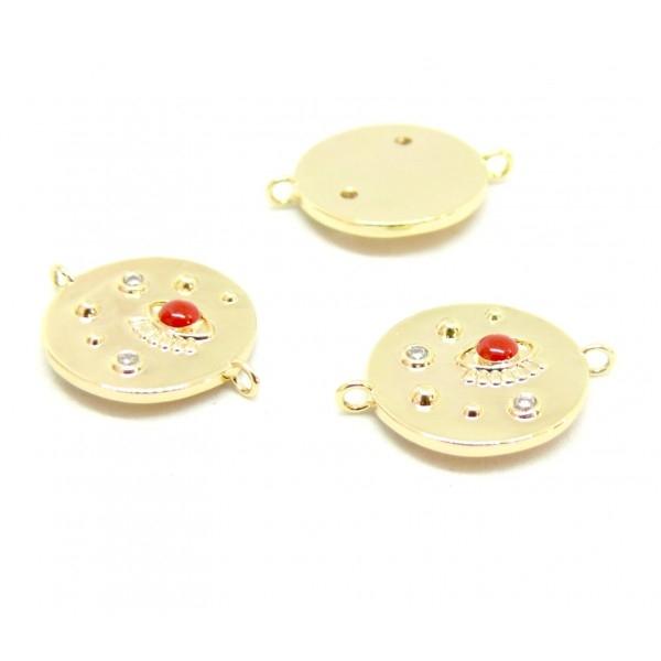 AE007 PAX 1 connecteur émaillé Oeil de la protection 14 par 18mm cuivre doré emaillé Rouge - Photo n°1
