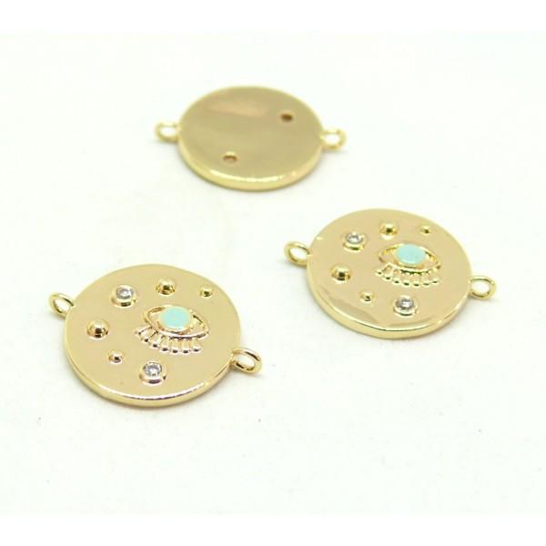 AE007 PAX 1 connecteur émaillé Oeil de la protection 14 par 18mm cuivre doré emaillé Bleu Clair - Photo n°1