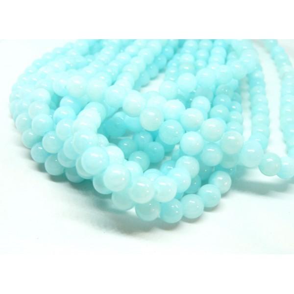 1 fil d'environ 50 perles Ronde Jade Bleu Clair 8mm couleur Y04 - Photo n°1