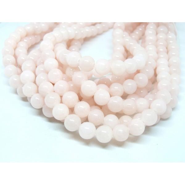 1 fil d'environ 50 perles Rondes Jade Mashan Rose pale 8mm XS02 - Photo n°1