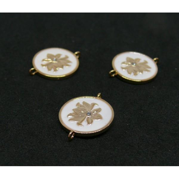 AE006 PAX 1 connecteur émaillé medaillon Fleur 14 par 18mm cuivre doré emaillé Blanc - Photo n°1