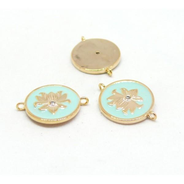 AE006 PAX 1 connecteur émaillé medaillon Fleur 14 par 18mm cuivre doré emaillé Bleu Clair - Photo n°1