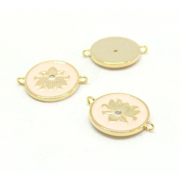 AE006 PAX 1 connecteur émaillé medaillon Fleur 14 par 18mm cuivre doré emaillé Rose - Photo n°1