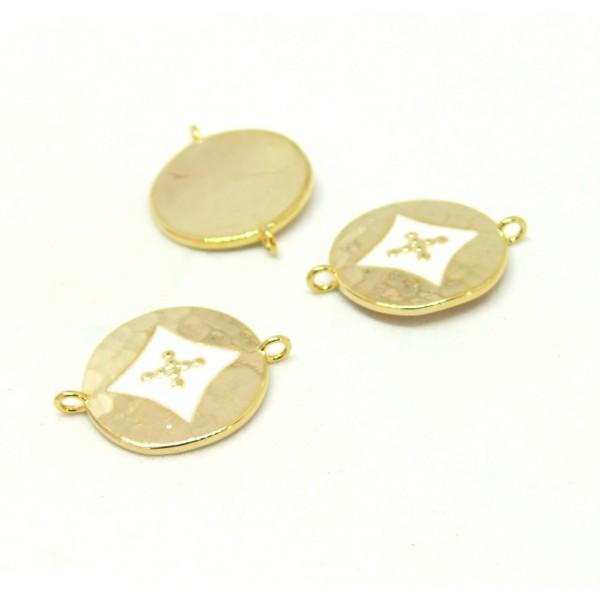 AE008 PAX 1 connecteur émaillé medaillon Losange 14 par 18mm cuivre doré emaillé Blanc - Photo n°1