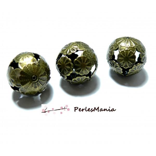 PS115232 PAX 10 Pendentifs Perles Rondes intercalaire fleur metal couleur Bronze 23mm - Photo n°1