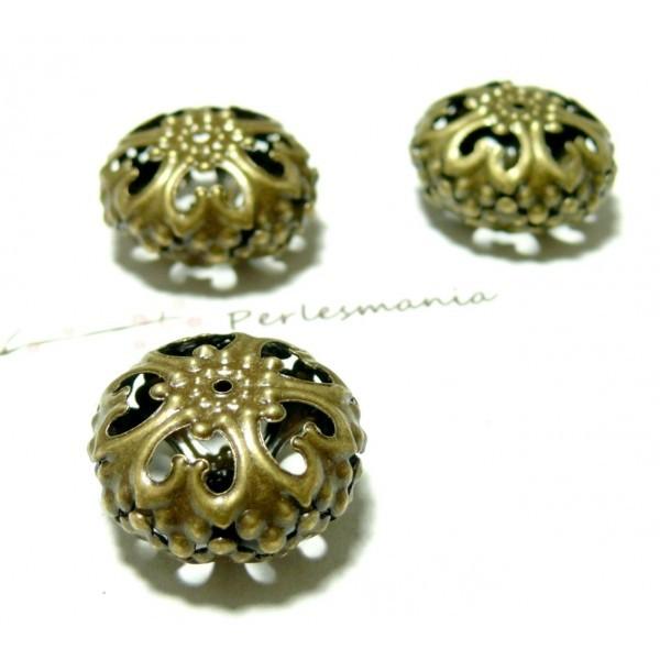 Lot de 10 Perles intercalaires ovales fleurs dentelle métal couleur Bronze ref PO60Y - Photo n°1