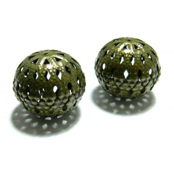 Lot de 10 perles intercalaires arabesque ref P58Y 20 par 17mm métal couleur Bronze - Photo n°1