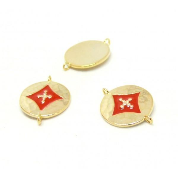 AE008 PAX 1 connecteur émaillé medaillon Losange 14 par 18mm cuivre doré emaillé Rouge - Photo n°1