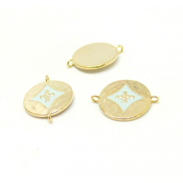 AE008 PAX 1 connecteur émaillé medaillon Losange 14 par 18mm cuivre doré emaillé Bleu Clair - Photo n°1