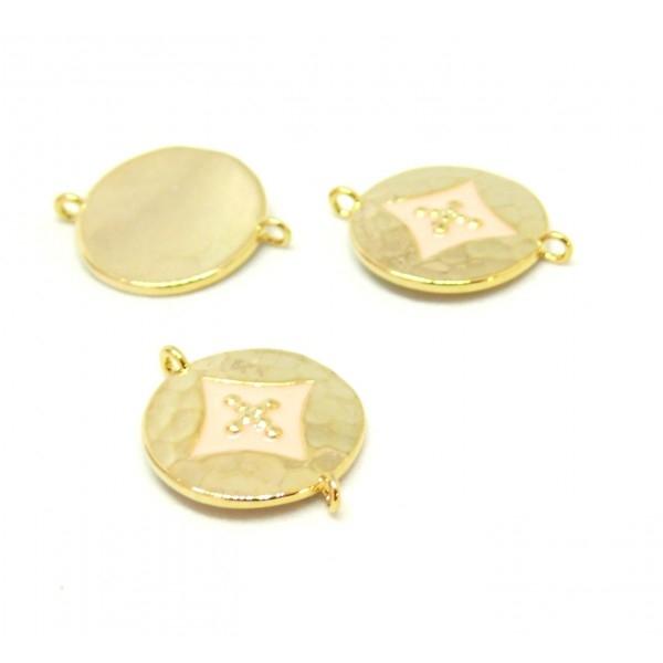 AE008 PAX 1 connecteur émaillé medaillon Losange 14 par 18mm cuivre doré emaillé Rose - Photo n°1