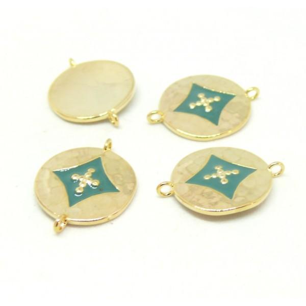 AE008 PAX 1 connecteur émaillé medaillon Losange 14 par 18mm cuivre doré emaillé Bleu Vert - Photo n°1